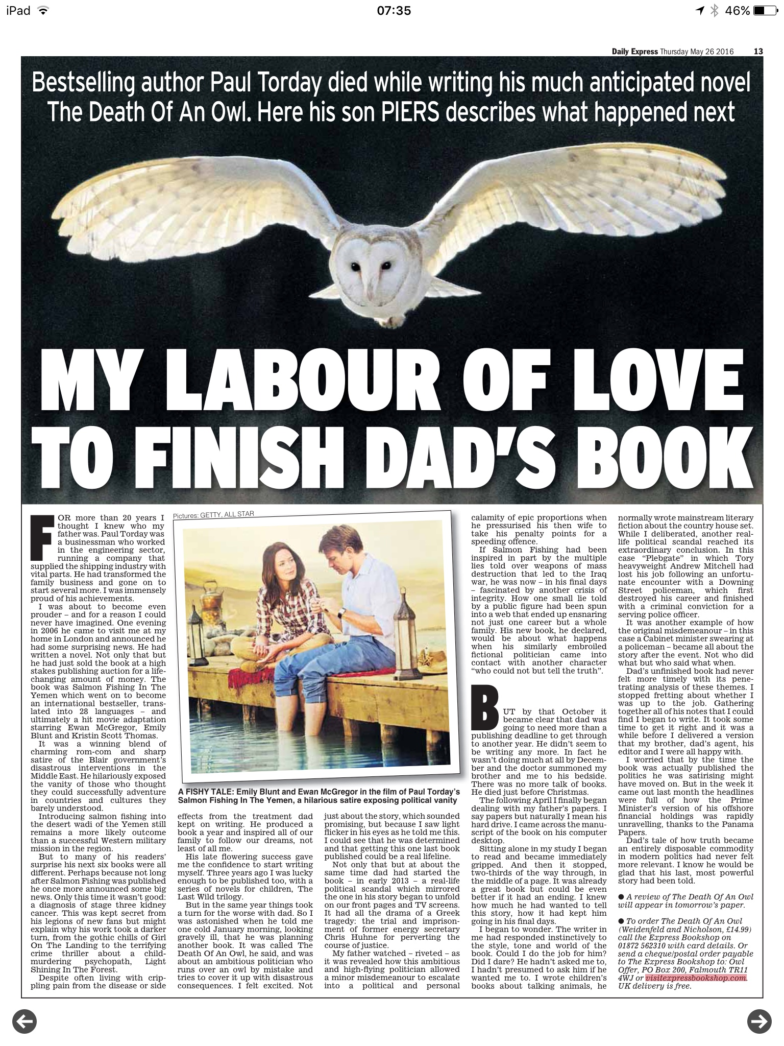 Piers Torday on finishing Death of an Owl by Paul Torday for Daily Express